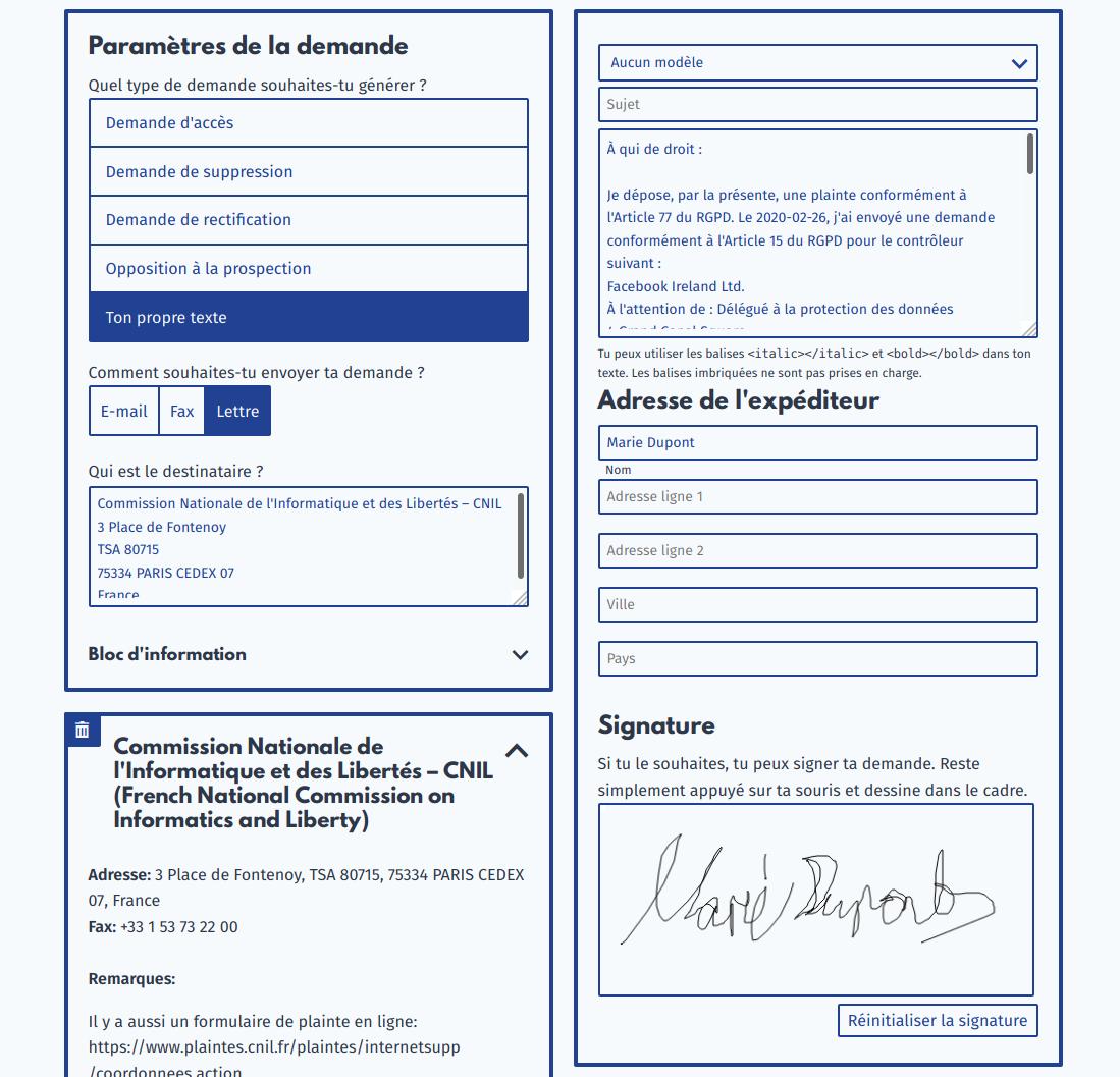Envoyer une plainte via demandetesdonnees.fr
